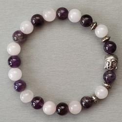 Bracelet Améthyste-quartz rose