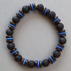 Bracelet Bois de coco et Lave