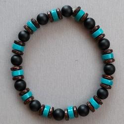 Bracelet Bois de coco, Onyx...